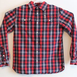 Tommy Hilfiger Boys Sz 16-18 Red Plaid Button-Up